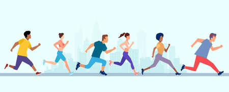 Vector of young men and women running marathon jogging on a city street.
