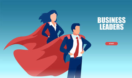 Vector of a young business man and woman wearing red cape feeling confident