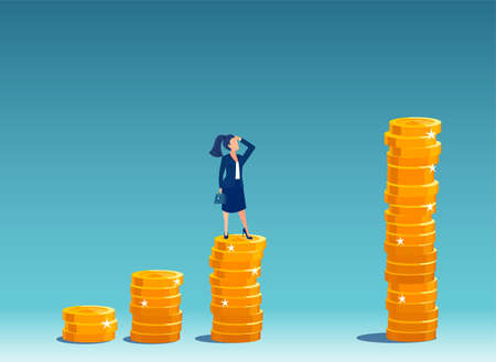 Vector of a businesswoman standing on a growing up stack of coins thinking how to  achieve top financial goals Ilustração