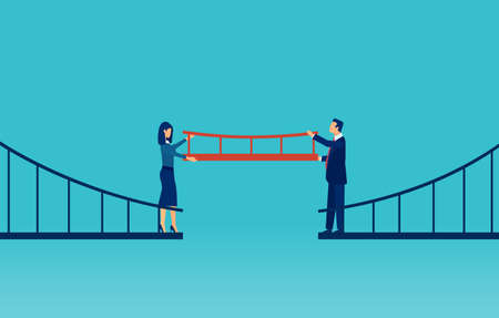 Cooperation concept. Vector of a businessman and a businesswoman connecting the bridge with a missing part