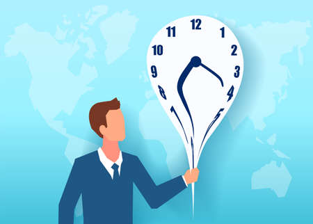 Vector of a businessman holding a melting clock on a world map background
