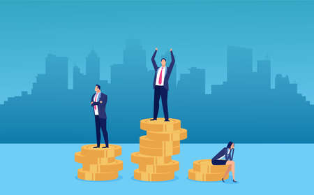 Employee pay difference and gender gap concept. Vector of a businesswoman being rewarded the least