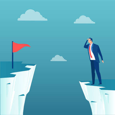 Vector of a businessman standing on a cliff thinking how to achieve career goals Ilustração