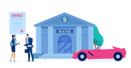 Vector of a man and a sales agent with approved car loan and a new modern auto on a bank building background 向量圖像