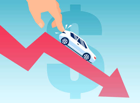 Vector of a man pushing down a car on a financial graph. Automobile depreciation concept 向量圖像