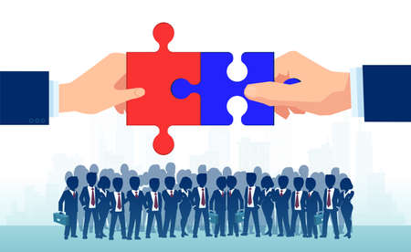 Bipartisan agreement between republican and democratic party. Vector of two politicians bringing together puzzle parts