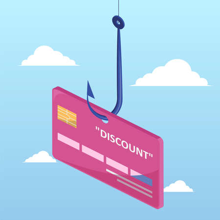 Fake discount bait concept. Vector of a discount credit card on a fishing hook isolated on a sky background