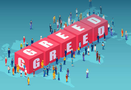 Vector of a crowd of people standing nearby 3d cube blocks building the word greed