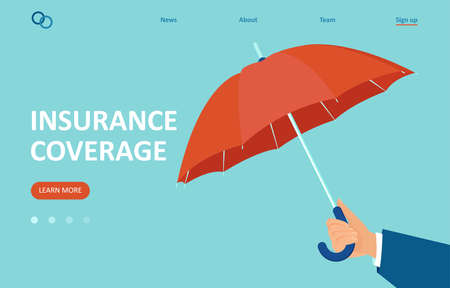 Vector of an insurance agent holding an umbrella on blue background 向量圖像
