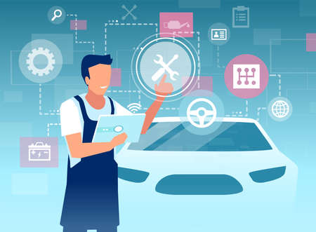 Vector of a male mechanic inspecting a car using tablet app with a virtual user interface