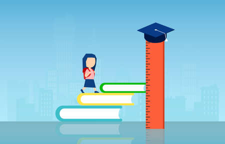 Vector of a little girl climbing up stairs made of books with graduation cap at the top of the ruler 向量圖像