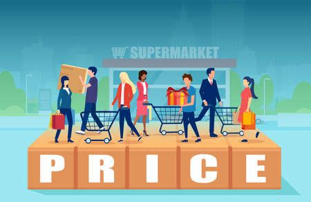 Promotion and pricing concept. Vector of shoppers with shopping carts 向量圖像