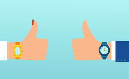 Vector of a man and woman hands with wrist watch showing thumbs up being on time