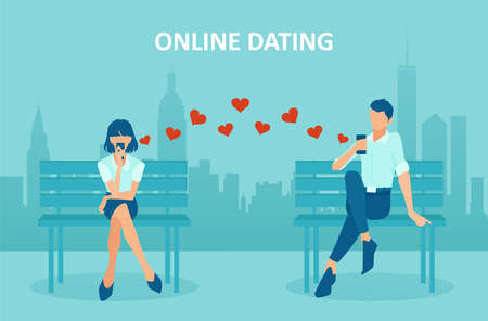 Online dating concept. Vector of a young woman and a man chatting via mobile app