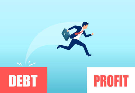 Vector of a businessman jumping from a debt zone to profitability