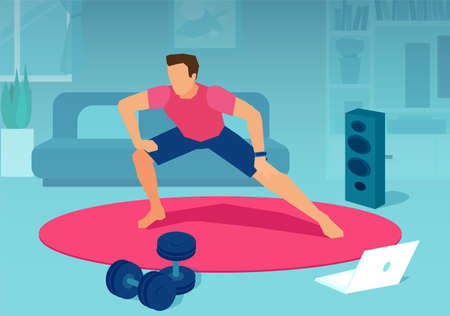 Online fitness and training concept. Vector of a fit man exercising together with fitness instructor on laptop