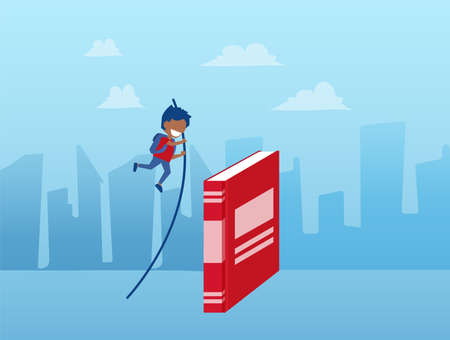 Vector of a child pole vaulting over the book on a cityscape background 向量圖像