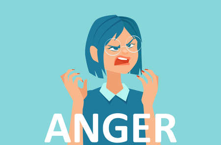 Vector of an angry young woman feeling frustrated