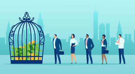 Vector of business people staying in line to get a credit, money locked in birdcage