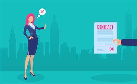Vector of a businesswoman rejecting a job contract offer. 版權商用圖片 - 153235496