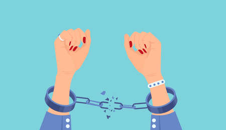 Vector of a woman breaking handcuffs enjoying freedom 向量圖像