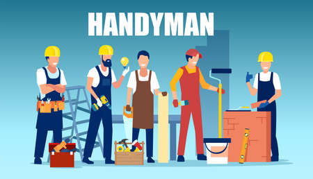 Vector of a repairmen team working together in construction industry 向量圖像