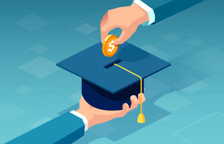 Vector of a man paying for his education making a dollar coin deposit in graduation cap