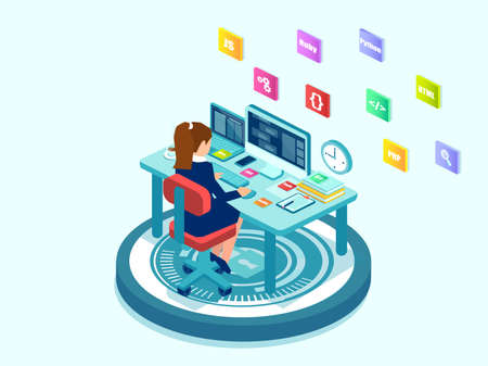 Isometric vector of a female programmer software engineer coding on desktop