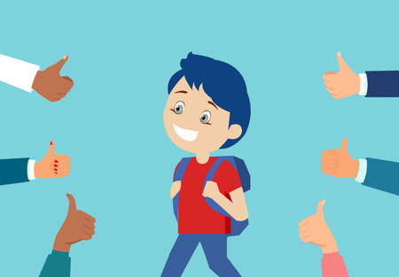 Vector of a cheerful boy student surrounded by hands giving thumbs up on blue background Ilustração Vetorial