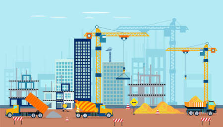 Vector of a construction site with machinery building a high rise apartment or office complex 向量圖像