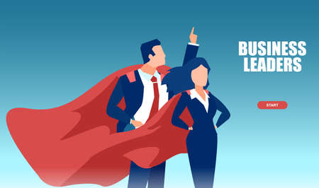 Vector of a young business leaders man and woman wearing red cape feeling confident