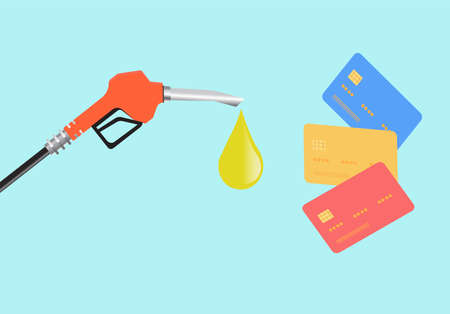 Vector of a pump nozzle and credit card on blue background