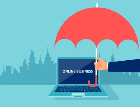 Vector of a businessman hand with umbrella protecting online business