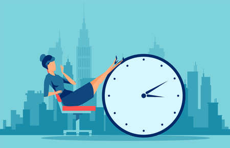 Vector of a young procrastinating business woman sitting in the office with her legs up on an alarm clock on a cityscape background