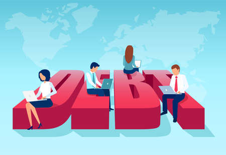 group of business people working on laptop computers sitting on a word debt