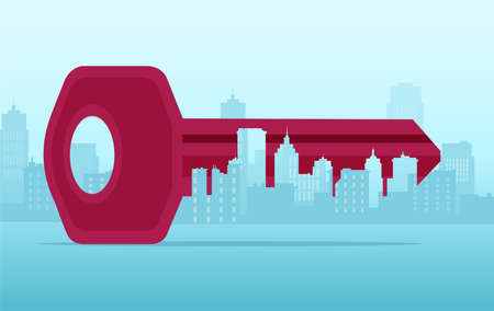real estate banner, key in the shape of a cityscape