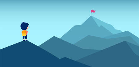 Vector of a little boy with backpack looking at a mountain top with a red flag