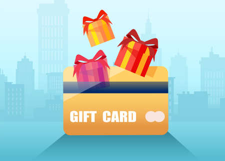 Vector of a gift loyalty reward program card on a cityscape background