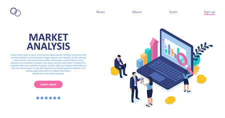 Vector of business people conducting market analysis strategy for market share growth