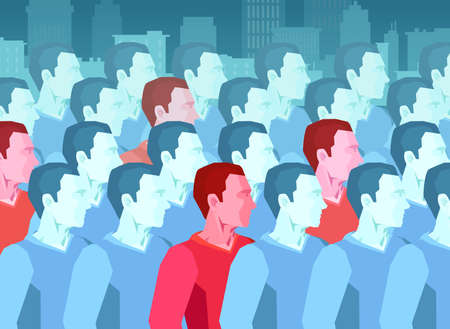 Vector of a large group of people with some men being infected with contagious pathogen