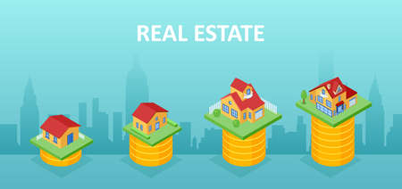 Home value concept. Vector of different houses standing on top of stacks of coins 向量圖像
