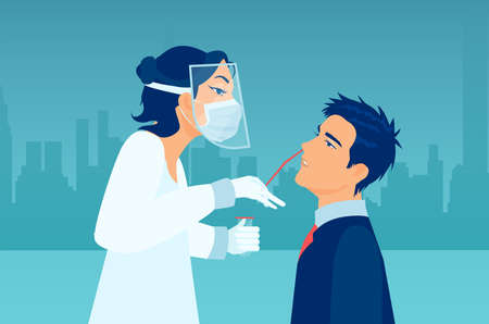 Coronavirus diagnostics concept. Vector of a medical professional wearing protective gear performing nasal swab test on a patient.