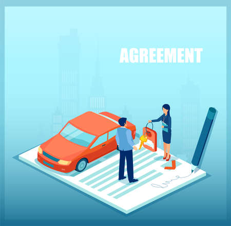 Vector of a sales woman handling car keys to a customer after loan approval