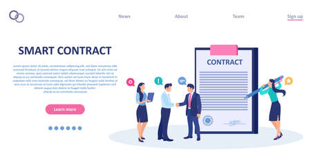 Vector of business people signing a smart contract
