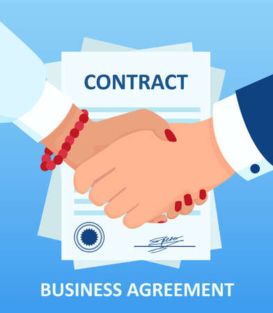 Vector of a businesswoman handshaking with businessman on a background of contract document