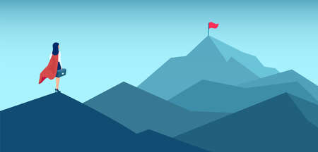Vector of a super woman looking at her goal, mountain with red flag on the top