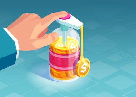Vector of a businessman pumping hand sanitizer bottle with dollar coins coming out