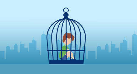 Vector of a lonely kid sitting inside the cage on a city background 向量圖像