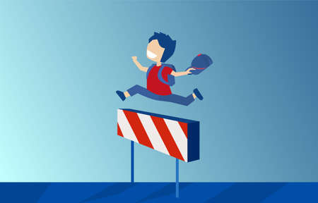 Vector of a boy with backpack jumping over hurdle race obstacle on blue background 向量圖像
