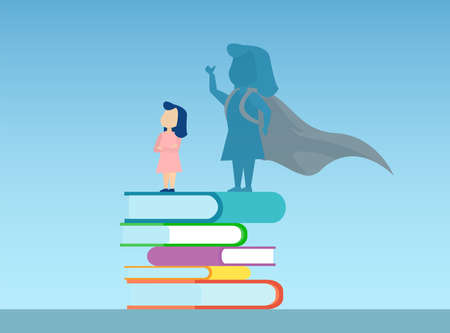 Vector of a little girl standing on a pile of books with super hero shadow of herself 向量圖像